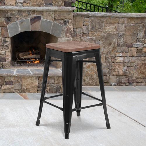 """24"""" High Backless Metal Counter Height Stool with Square Wood Seat"""
