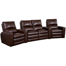 Manor Four Seater Home Theater - Wedge Arm in Bonded Leather