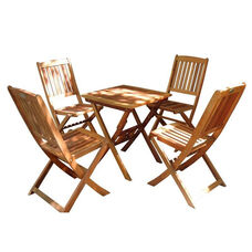 Malibu 5 Piece Outdoor Wood Folding Bistro Set with Table and 4 Folding Chairs