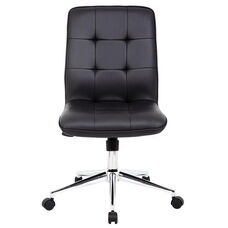 Modern CaressoftPlus Office Chair with Chrome Base and Hooded Casters - Black
