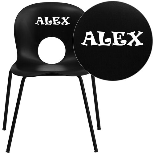 Our Personalized HERCULES Series 770 lb. Capacity Designer Black Plastic Stack Chair with Black Frame is on sale now.