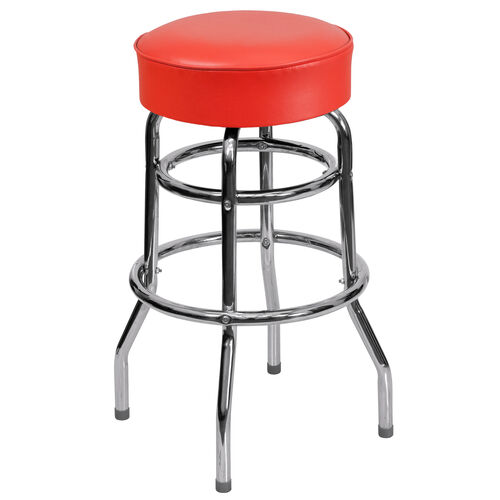 Our Double Ring Chrome Barstool with Red Vinyl Swivel Seat is on sale now.