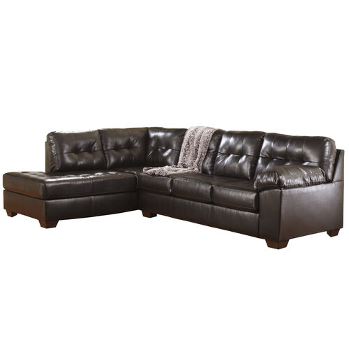 Our Signature Design by Ashley Alliston with Left Side Facing Chaise Sectional in Chocolate Faux Leather is on sale now.