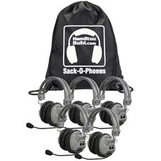 Gray Over-Ear Leatherette Ear Cushion Deluxe Sack-O-Phones Microphone Headsets with Plastic Head Band and Carry Bag - Set of 5 Headphones