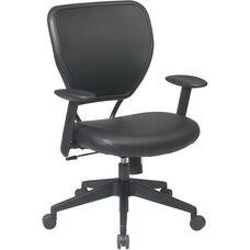 Space Vinyl Over Air Grid Back Deluxe Task Chair - Black