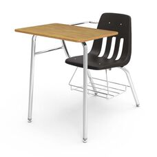 9000 Series Classic Student Combo Desk with Medium Oak Laminate Top, Chrome Frame, and Black Chair - 24