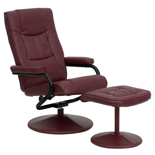 Our Contemporary Multi-Position Recliner and Ottoman with Wrapped Base in Burgundy LeatherSoft is on sale now.