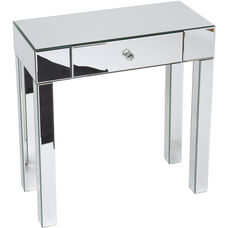 Ave Six Reflections Glass Foyer Table with Slide Out Drawer and Crystal Knob - Silver