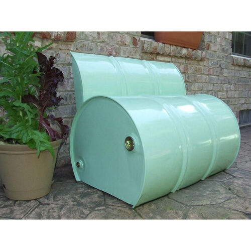 Outdoor Steel Drum Bench with Back Rest
