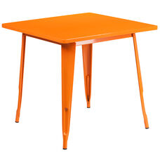 "Commercial Grade 31.5"" Square Orange Metal Indoor-Outdoor Table"