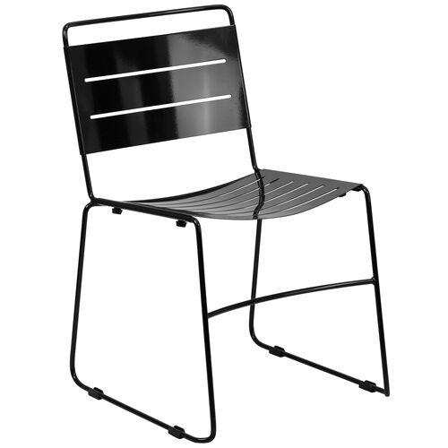 HERCULES Series Black Indoor-Outdoor Metal Stack Chair