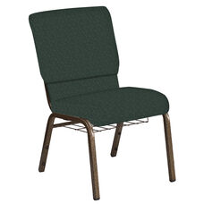 18.5''W Church Chair in Bonaire Orchard Fabric with Book Rack - Gold Vein Frame