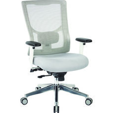Pro-Line II ProGrid White Mesh High Back Office Chair with 2-Way Adjustable Arms - Grey Fabric Seat