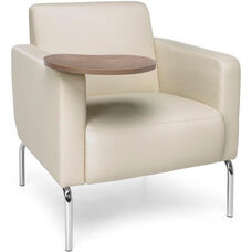 Triumph Lounge Chair with Tablet and Vinyl Seat with Chrome Feet - Cream Seat with Bronze Finish Tablet