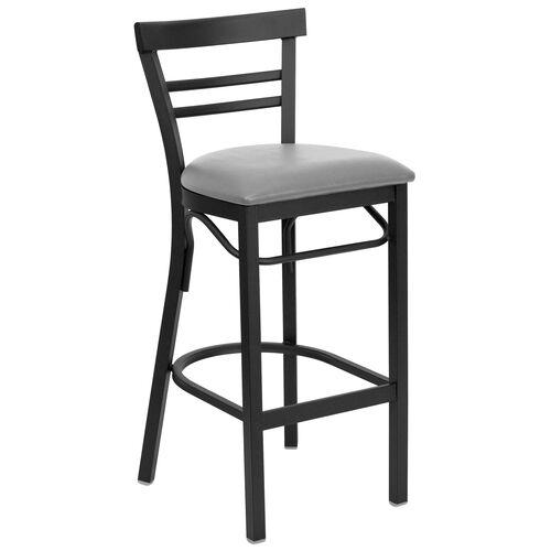Our HERCULES Series Black Two-Slat Ladder Back Metal Restaurant Barstool - Custom Upholstered Seat is on sale now.