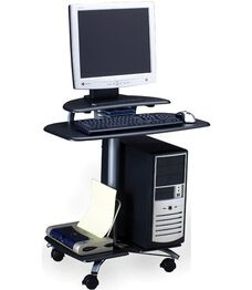 FPD Mobile Computer Table with Raised Flat Panel Platform - Anthracite