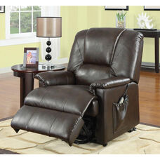 Reseda Transitional Style Faux Leather Power Lift Recliner with Wired Control - Brown