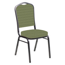 Embroidered Crown Back Banquet Chair in Harmony Sea Green Fabric - Silver Vein Frame