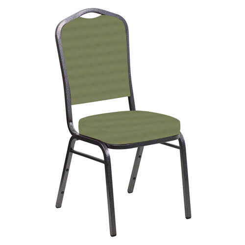 Our Embroidered Crown Back Banquet Chair in Harmony Sea Green Fabric - Silver Vein Frame is on sale now.