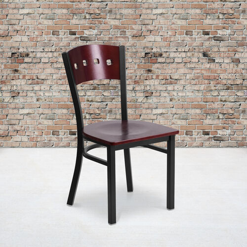 Black Decorative 4 Square Back Metal Restaurant Chair with Mahogany Wood Back & Seat