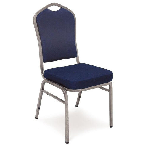 Superb Seating Heavy-Duty Steel Frame Fabric Upholstered Stacking Chair - Navy Blue
