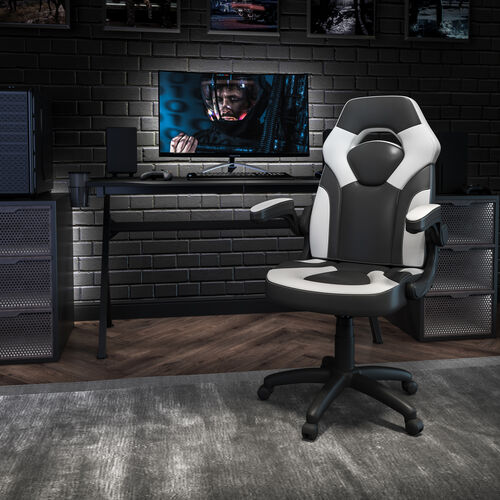 BlackArc X10 Gaming Chair Racing Office Ergonomic Computer PC Adjustable Swivel Chair with Flip-up Arms, White/Black LeatherSoft