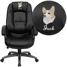 Embroidered High Back Black LeatherSoft Executive Swivel Ergonomic Office Chair with Deep Curved Lumbar and Arms
