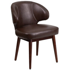 Comfort Back Series Brown Leather Side Reception Chair with Walnut Legs