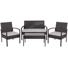 Aransas Series 4 Piece Black Patio Set with Steel Frame and Gray Cushions