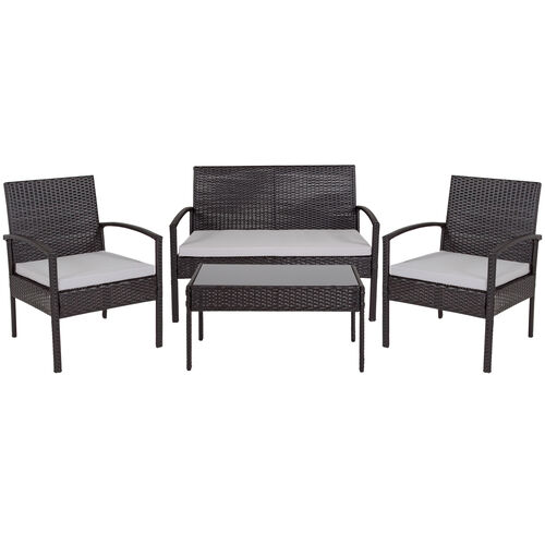 Our Aransas Series 4 Piece Black Patio Set with Steel Frame and Gray Cushions is on sale now.