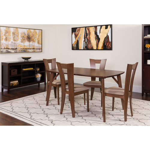 Barnes 5 Piece Walnut Wood Dining Table Set with Slotted Back Wood Dining Chairs - Padded Seats