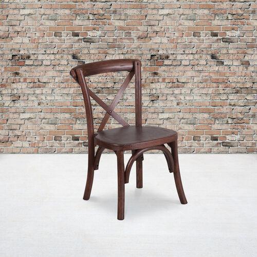 HERCULES Series Stackable Kids Mahogany Wood Cross Back Chair