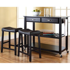 Solid Black Granite Top Kitchen Island Cart with 24