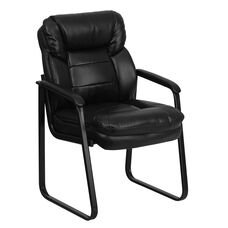 Black LeatherSoft Executive Side Reception Chair with Lumbar Support and Sled Base