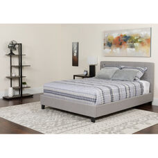 Chelsea Queen Size Upholstered Platform Bed in Light Gray Fabric with Memory Foam Mattress