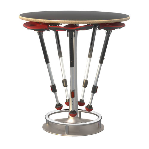 Our Focal™ Collision Table and Mogo Seat Bundle - Black Surface with Silver Base and Red Mogo Seats is on sale now.