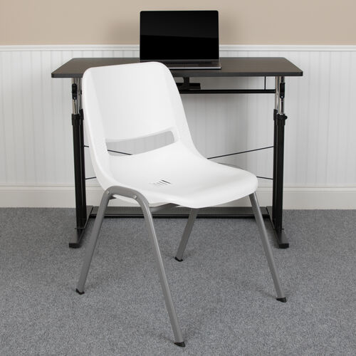 Our HERCULES Series 880 lb. Capacity White Ergonomic Shell Stack Chair with Gray Frame is on sale now.