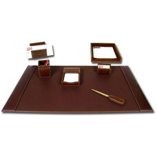 Rustic Leather 7 Piece Desk Set - Brown