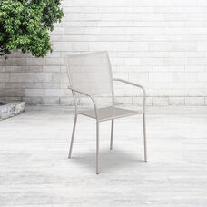Commercial Grade Light Gray Indoor-Outdoor Steel Patio Arm Chair with Square Back
