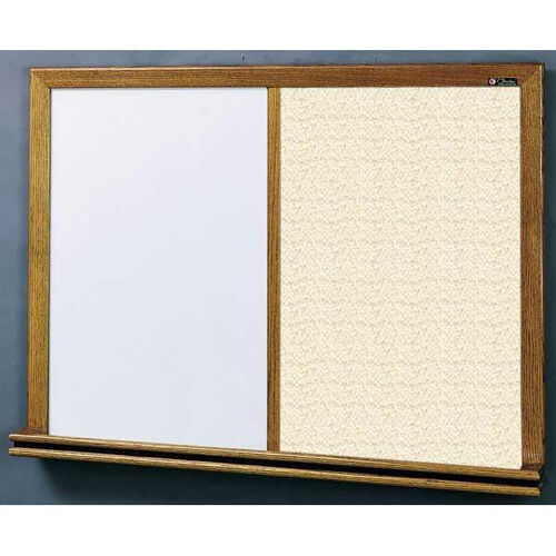 Our 210 Series Wood Frame Combo Markerboard and Tackboard - Fabricork - 48