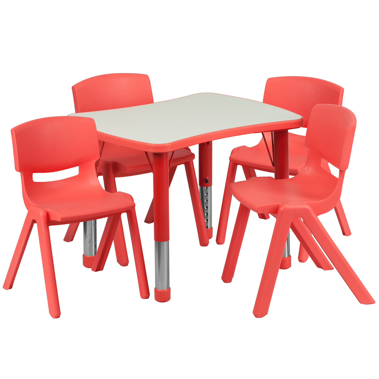 ... Our 21.875u0027u0027W x 26.625u0027u0027L Rectangular Red Plastic Height Adjustable Activity  sc 1 st  Bizchair.com & 21x26 Red Activity Table Set YU-YCY-098-0034-RECT-TBL-RED-GG ...