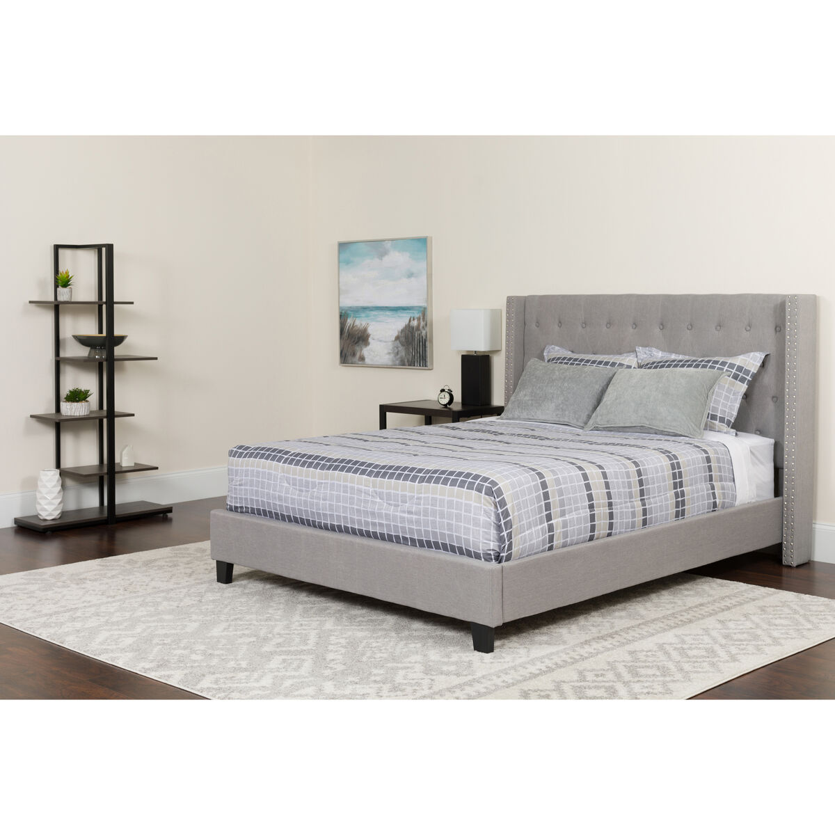 Our riverdale twin size tufted upholstered platform bed in light gray fabric is on sale now