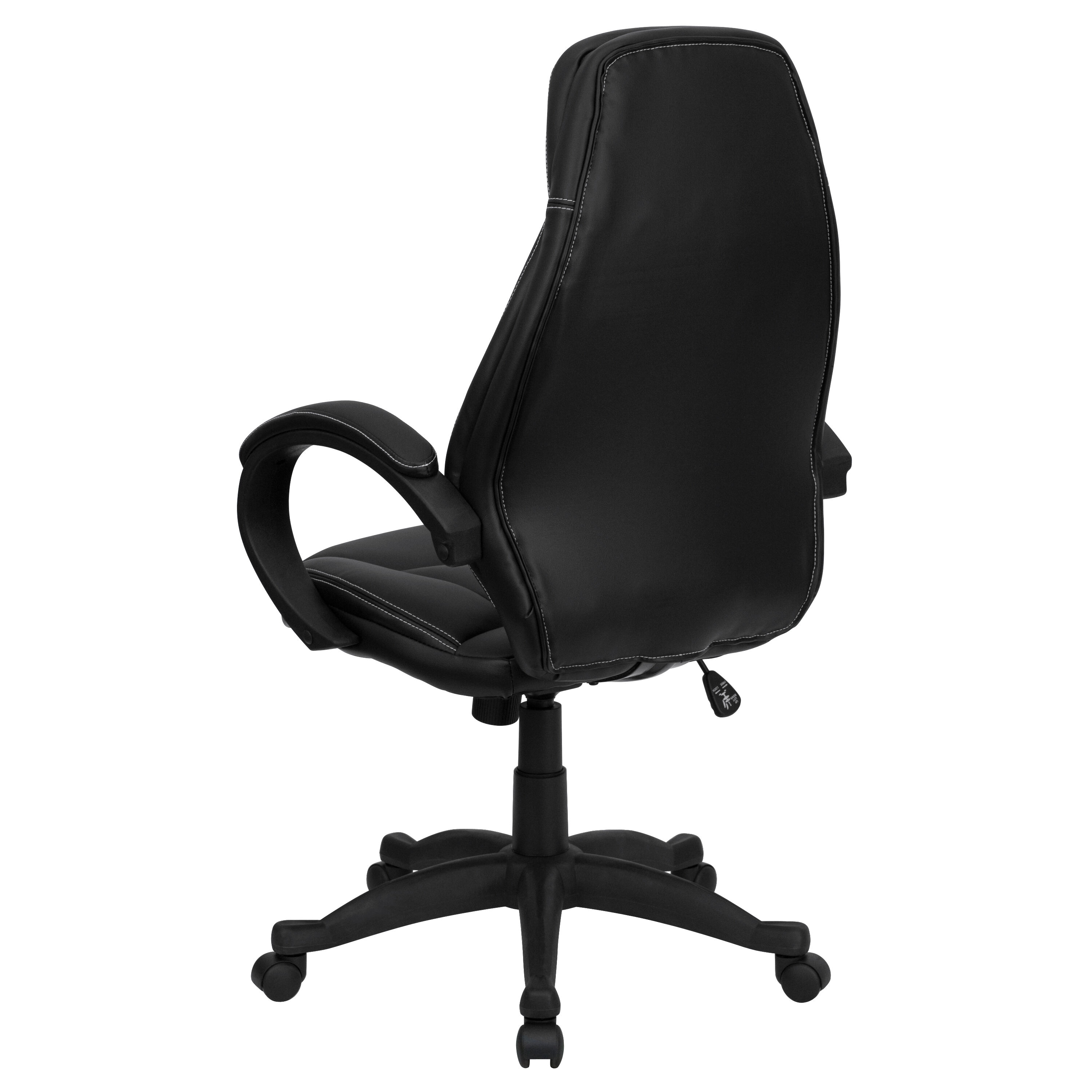 Our High Back Black Leather Contemporary Executive Swivel Chair With Arms  Is On Sale Now.