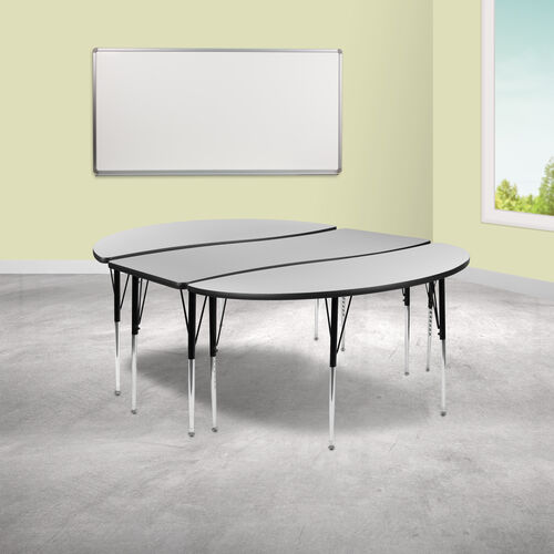 """3 Piece 86"""" Oval Wave Collaborative Grey Thermal Laminate Activity Table Set - Standard Height Adjustable Legs"""