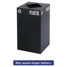 Safco® Public Square Recycling Container - Square - Steel - 25gal - Black