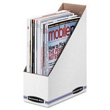 Bankers Box® Corrugated Cardboard Magazine File - 4 x 9 1/4 x 11 3/4 - White - 12/Carton
