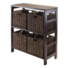Granville 5-Pc Storage Shelf in Espresso with 4 Foldable Baskets