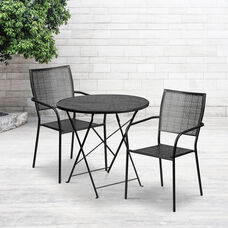 "Commercial Grade 30"" Round Black Indoor-Outdoor Steel Folding Patio Table Set with 2 Square Back Chairs"