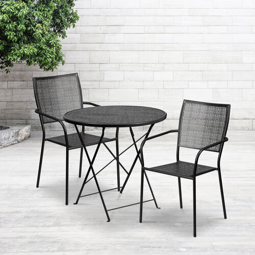 """Our Commercial Grade 30"""" Round Indoor-Outdoor Steel Folding Patio Table Set with 2 Square Back Chairs is on sale now."""