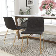 18 inch LeatherSoft Dining Chairs in Gray, Set of 2